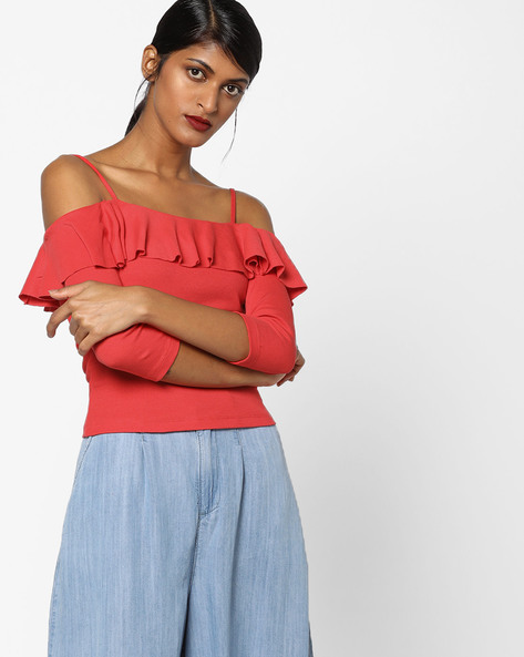 Ruffled Top With Cold-Shoulder Sleeves By Ginger By Lifestyle ( Red )