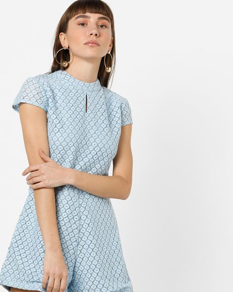 Playsuit With Back Cut-Out And Tie-Up By AJIO ( Blue )