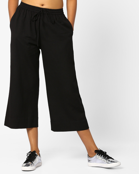 Mid-Rise Culottes With Tie-Up By Project Eve IW Casual ( Black )