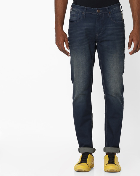 Heavy-Wash Slim Fit Jeans By FLYING MACHINE ( Blue )