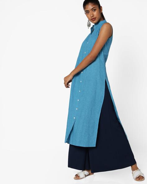 Shirt Kurta With Mandarin Collar By Breya ( Blue )