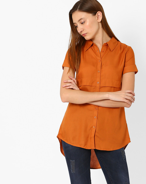 Classic Shirt With High-Low Hem By Vero Moda ( Brown )