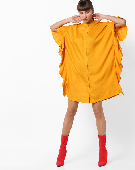 Shirt Tunic With Extended Bell Sleeves By AJIO ( Mustard )