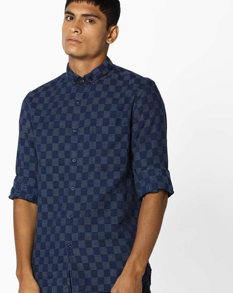 Woven Shirt With Patch Pocket By AJIO ( Blue )