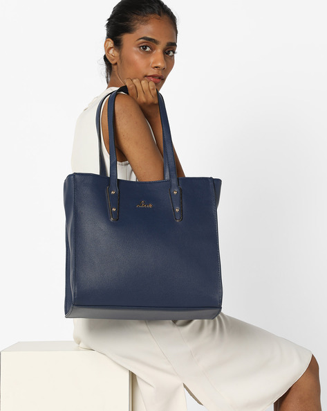 Textured Tote Bag By Lavie ( Navy )