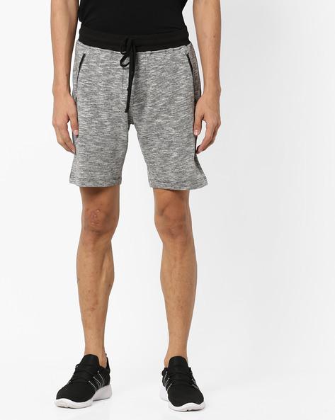 Slub Shorts With Contrast Waistband By AJIO ( Greymelange )
