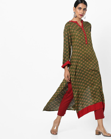 Printed Kurta With Mock Button Placket By Shree ( Green )