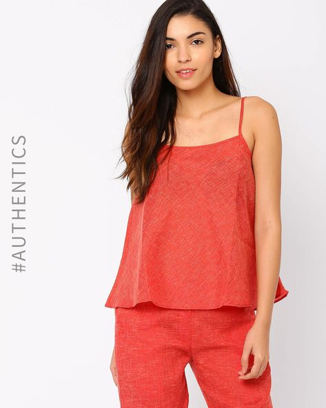 Sleeveless Khadi Top By Red Sister Blue ( Red )