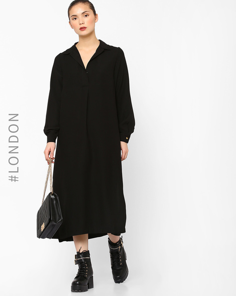 Collared Tunic Dress With Slits By Closet London ( Black )
