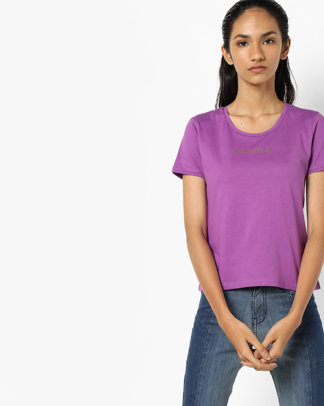 Crew-Neck T-shirt With Branding By UNITED COLORS OF BENETTON ( Purple )