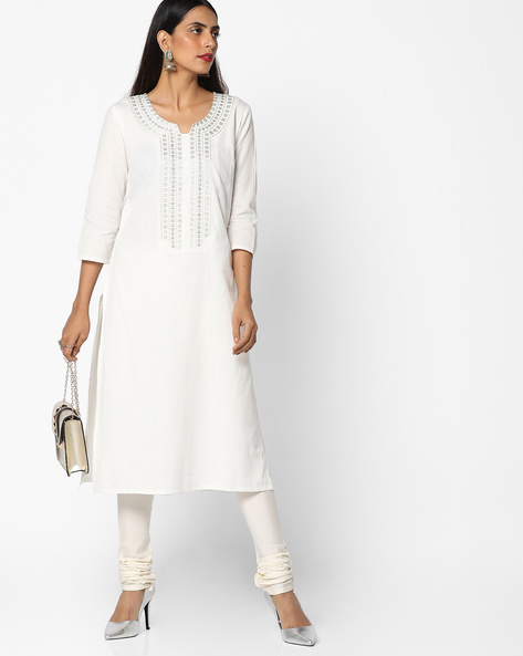 Straight Kurta With Embroidery By AJIO ( Offwhite ) - 460086132002