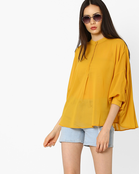 Swing Shirt With Band Collar By CHM ( Mustard )