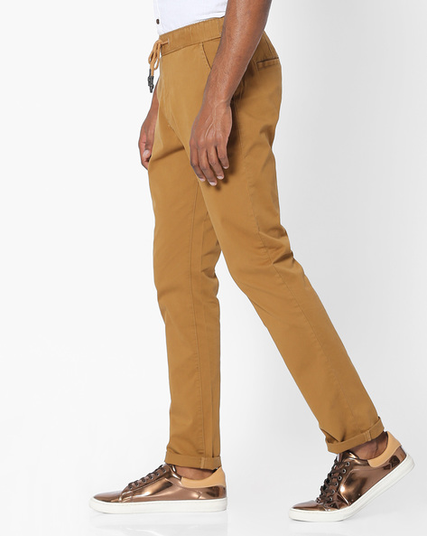 Mid-Rise Flat-Front Chinos By Nature Casuals ( Khaki )