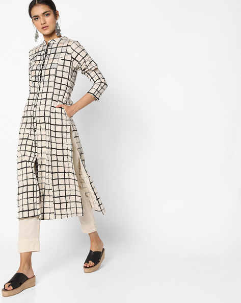 Checked Straight Kurta With Sleeve Cut-outs By AJIO ( Offwhite )