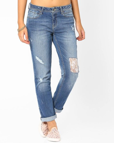 Distressed Jeans With Lace Detail By AJIO ( Lightblue )