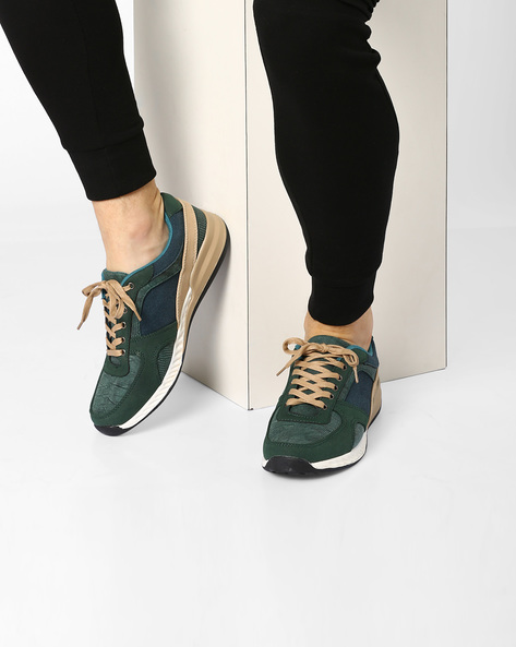 Colourblock Shoes With Lace-Up Fastening By Muddman ( Green )