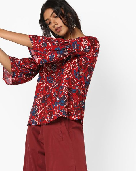 Floral Top With Bell Sleeves By Project Eve IW Fusion ( Maroonburg )