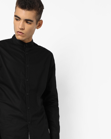 Shirt With Band Collar By AJIO ( Black )