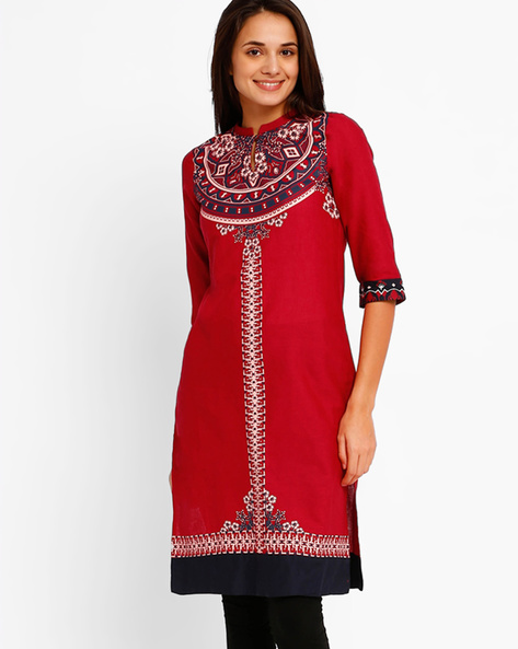 Printed Straight Kurta With Mandarin Collar By W ( Red )