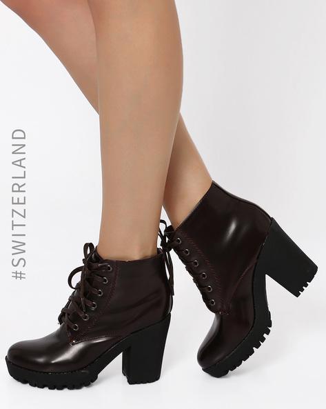 Block Heeled Boots By TALLY WEiJL ( Wine )