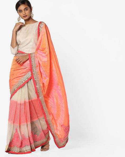 Silk Half-and-Half Saree With Embroidered Net By Shonaya ( Pink )