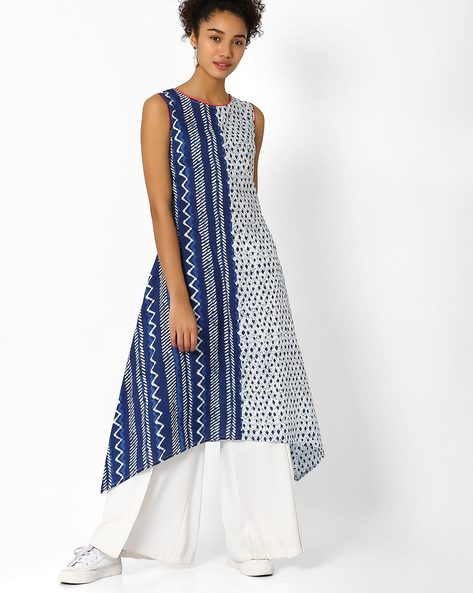 Printed Kurta With Contrast Piping By AJIO ( Blue )