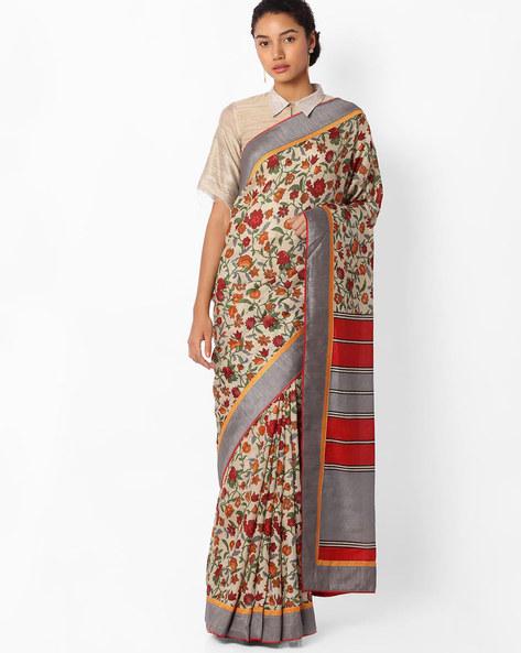 Floral Print Art Silk Saree By VIPUL ( Grey )