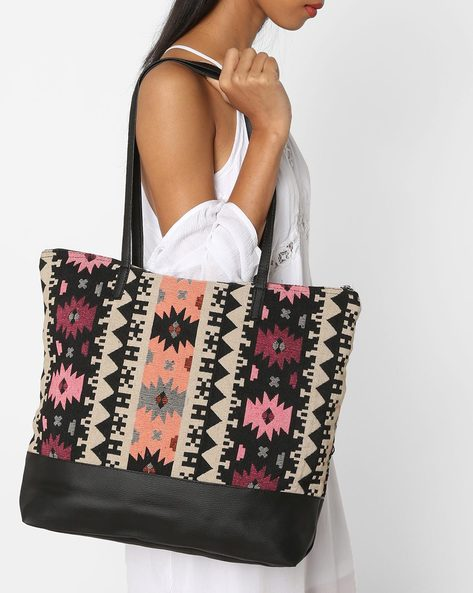 Jacquard Tote Bag By Kanvas Katha ( Multicolor ) - 460124274001