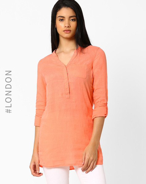 Linen Tunic With Roll-Up Sleeves By Marks & Spencer ( Coral )