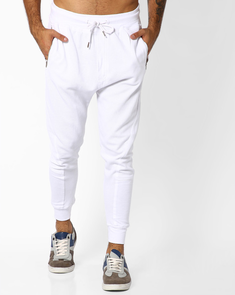 Waffle Knit Joggers With Ribbed Hems By ADAMO LONDON ( White )