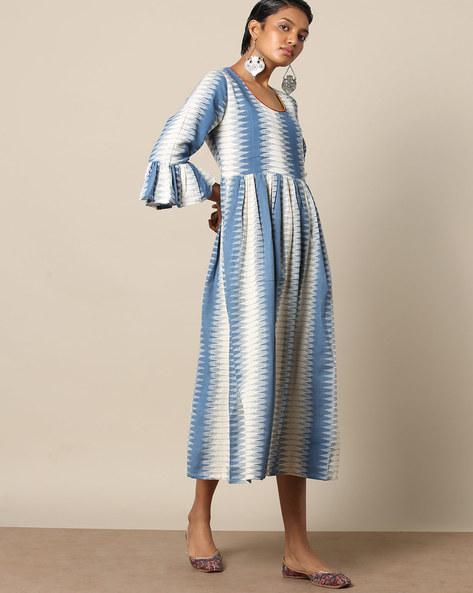 Cotton Fit & Flare Dress With Ikat Print By Indie Picks ( Blue )