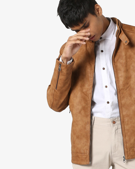 Textured Slim Fit Biker Jacket By The Indian Garage Co ( Brown )