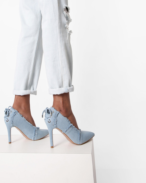Pointed-Toe Pumps With Frayed Hems By AJIO ( Lightblue )