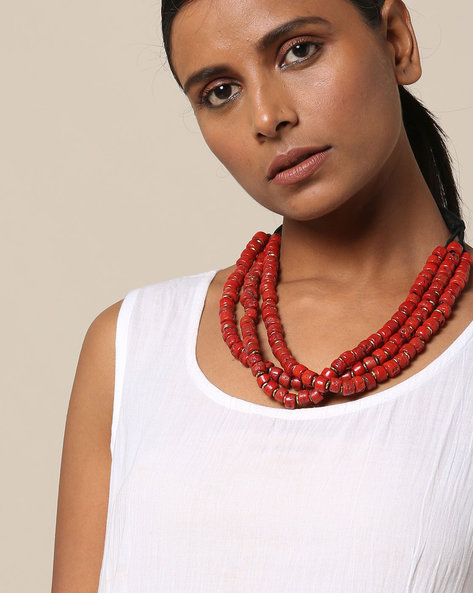 Three Strand Ceramic Bead Necklace By IMLI STREET ( Orange )