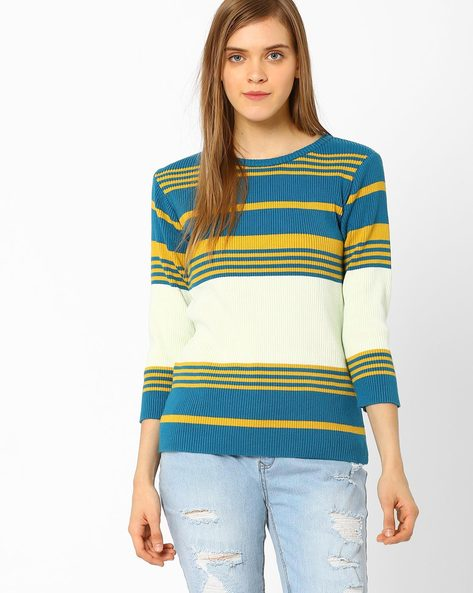 Knitted Striped Pullover By AJIO ( Teal )