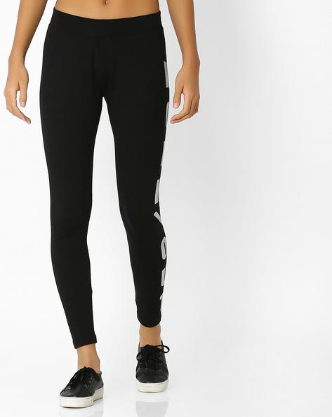 Foil Print Mid-Rise Leggings By Teamspirit ( Black )