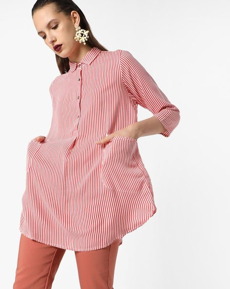 Striped Tunic With Button Placket By AJIO ( Coral )