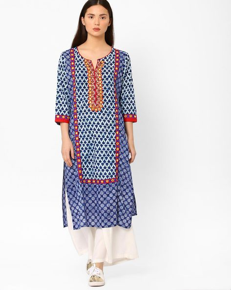 Printed Straight Kurta With Embroidery By Kifahari ( Blue )