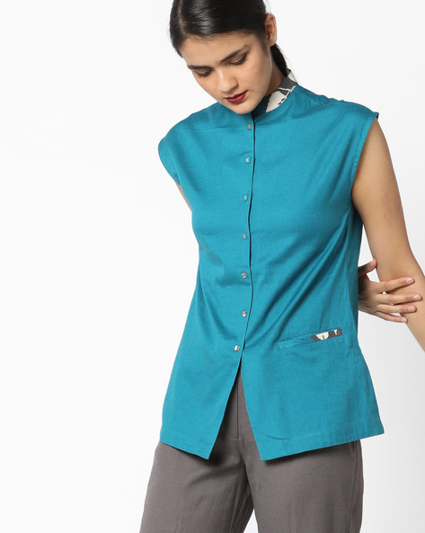 Shirt Tunic With Insert Pocket By AJIO ( Teal )