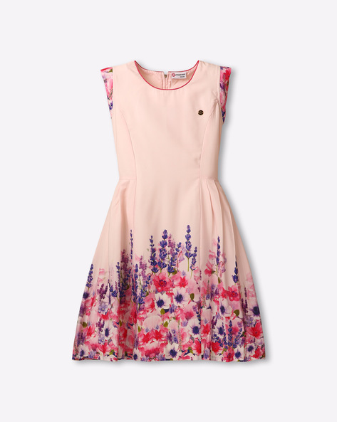 Floral Print Dress With Cap Sleeve By Peppermint ( Pink )