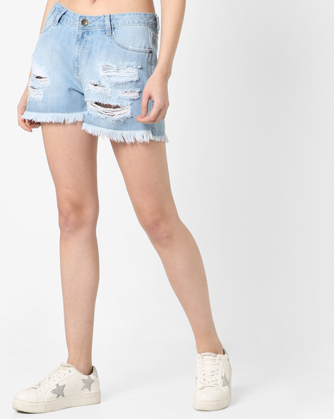 High-Waist Distressed Denim Shorts By AJIO ( Ice )