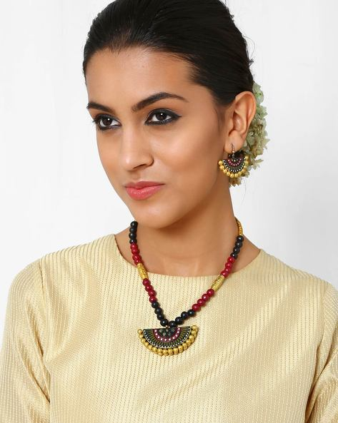 Handmade Terracotta Necklace Set By Kalamayi ( Gold )