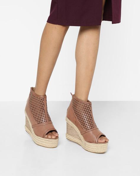 Peep-Toe Wedges With Braided Midsole By AJIO ( Brown )