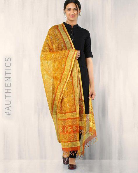 Bagru Printed Kota Silk Dupatta By Indie Picks ( Yellow )