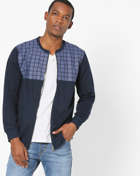 Jacket With Checks On Chest By Campus Sutra ( Blue )