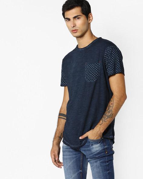 Slub-Knit T-shirt With Patch Pocket By RINGSPUN ( Indigo ) - 460093617006
