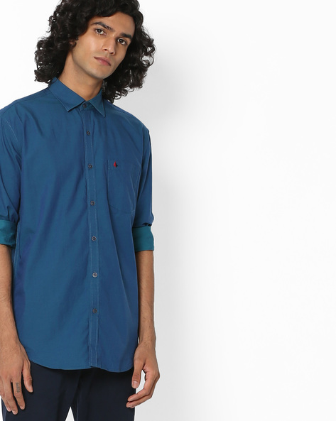 Slim Fit Shirt With Patch Pocket By British Club ( Blue ) - 460132229003