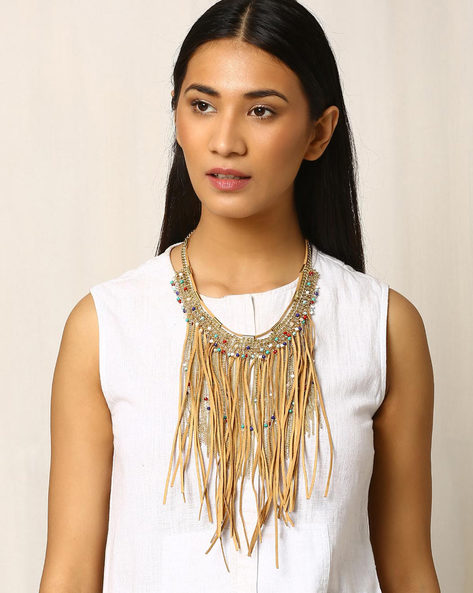 Tasselled Necklace With Beads By Indie Picks ( Brown )