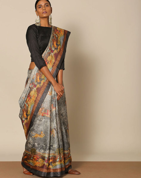 Designer Pure Silk Tussar Mythological Print Saree By Rudrakaashe-MSU ( Black )