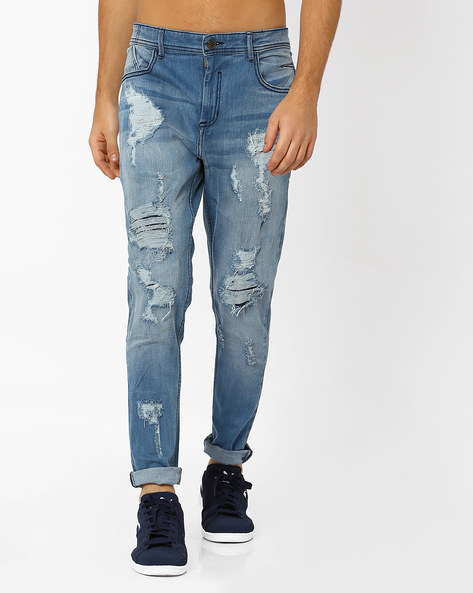 Distressed Slim Jeans By ADAMO LONDON ( Lightblue )
